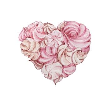 심장의 모양에 수채화 손으로 그린 디저트 부드러운 마시맬로