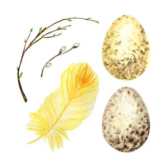 水彩手描きの卵、羽、緑の葉が設定されている柳の木の枝。分離されたイラスト。