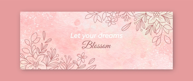 Watercolor hand drawn facebook cover template