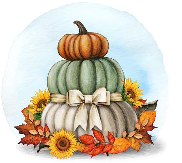 秋の葉とカボチャと水彩手描きの秋の構成