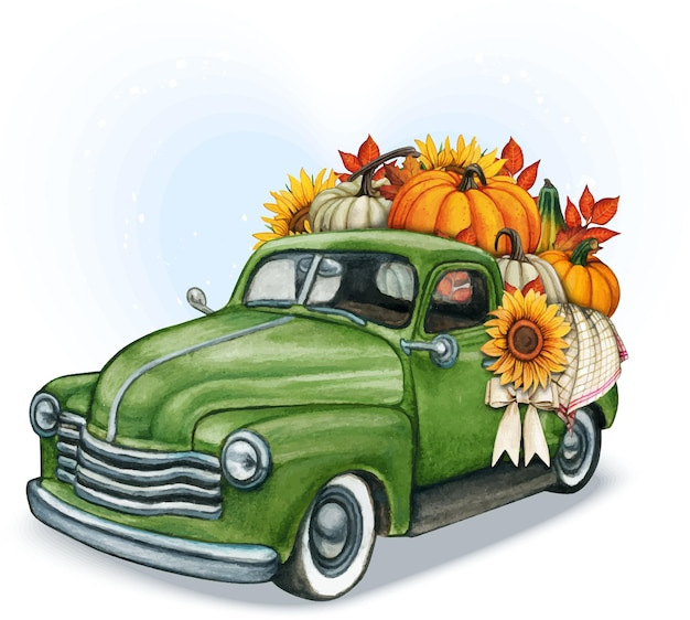 Watercolor hand drawn fall pickup full of pumpkins