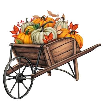 Watercolor hand drawn fall pumpkin composition