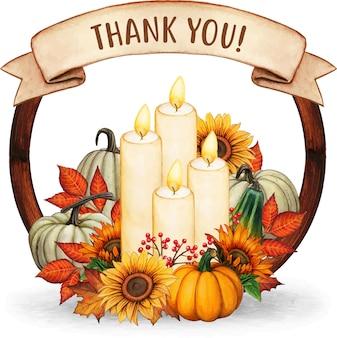 キャンドルの葉とカボチャと水彩手描きの秋の花輪