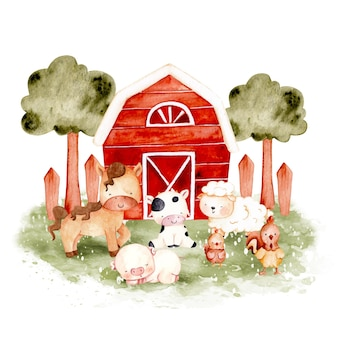 水彩手描きの農場の動物