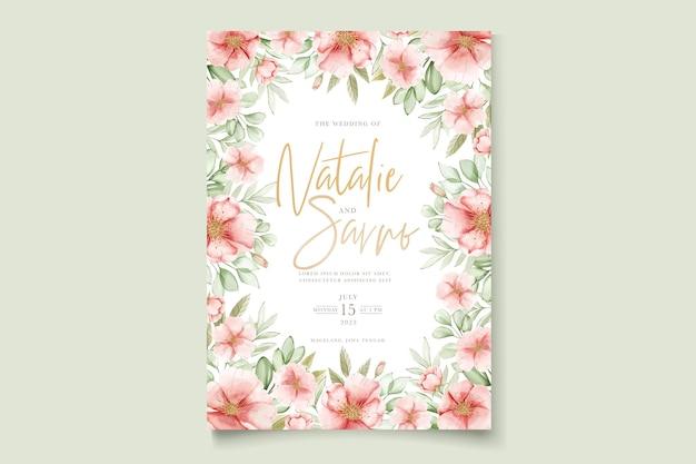 수채화 손으로 그린 꽃과 잎 카드 세트