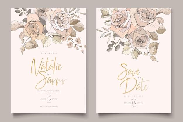 水彩手描き花と葉カードセット