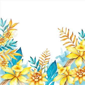 バニラの花と熱帯の葉と水彩手描き花の背景