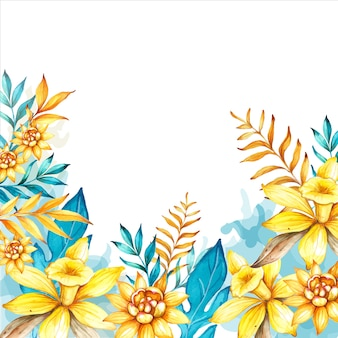 Watercolor hand-drawn floral background with vanilla flower and tropical leaves