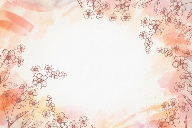 수채화 손으로 그린 꽃 배경