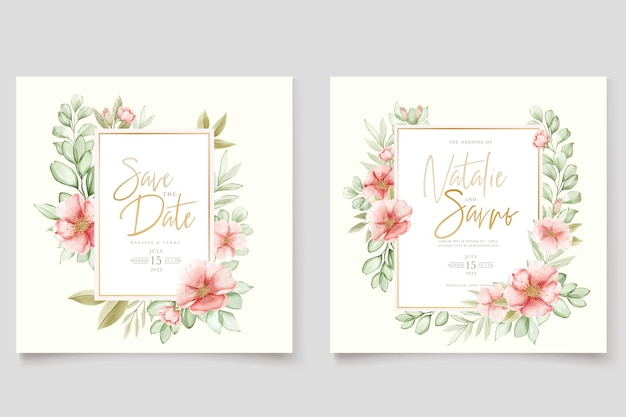 Watercolor hand drawn floral and leaves card set