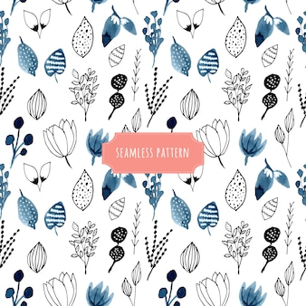 Watercolor and hand drawn floral seamless pattern