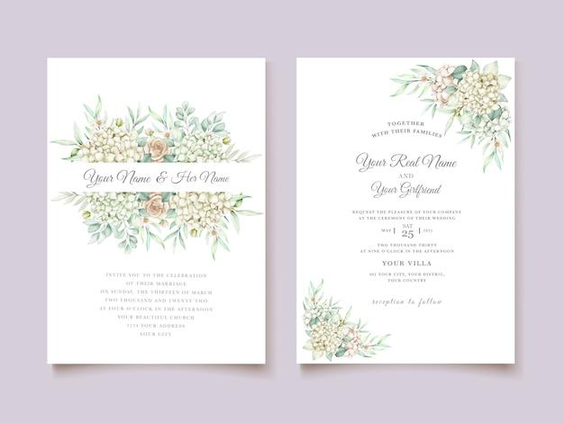 水彩手描き花の結婚式の招待カードセット