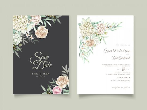 수채화 손으로 그린 꽃 결혼식 초대 카드 세트 프리미엄 벡터
