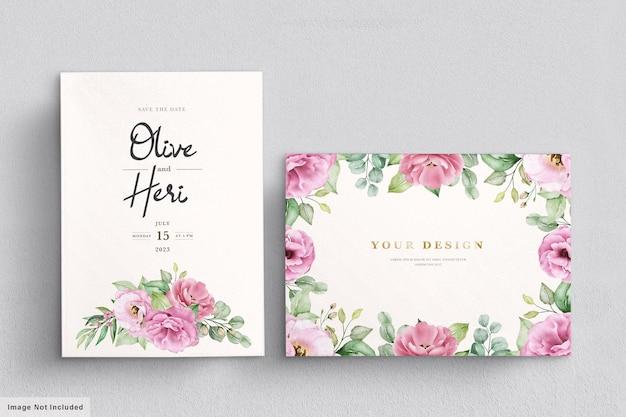 水彩手描き花の結婚式の招待カードテンプレート