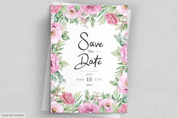 Watercolor hand drawn floral wedding invitation card template