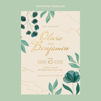 水彩手描き花の結婚式の招待状
