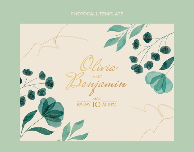 水彩手描き花の結婚式のフォトコール