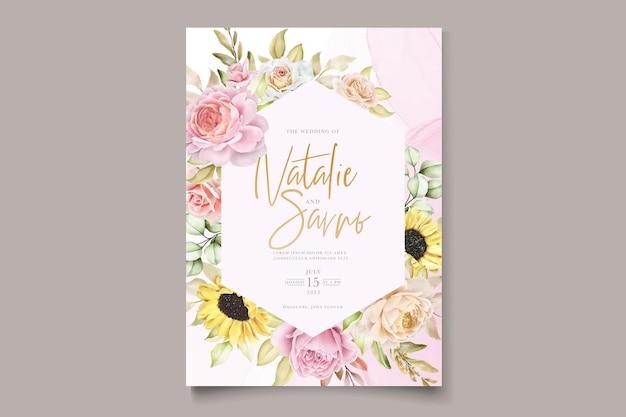 아름다운 색상 초대 카드 세트와 함께 수채화 손으로 그린 꽃