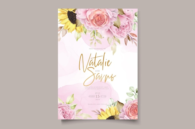 Watercolor hand drawn floral with beautiful colours invitation card set