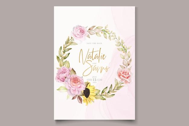 Acquerello disegnato a mano floreale con bellissimi colori set di biglietti d'invito