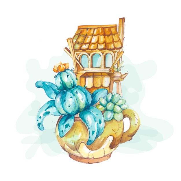 サボテンと水彩手描きの植物相