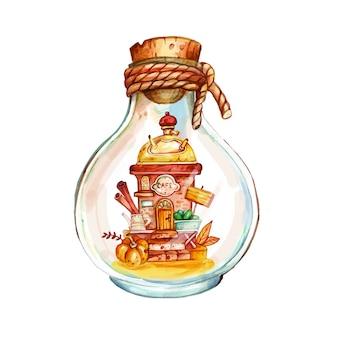 Акварель рисованной флорариум с кофейной мельницей и тыквой