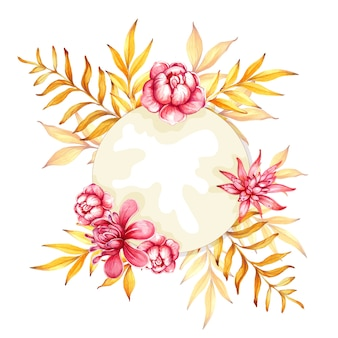 장미와 열 대 잎 수채화 손으로 그린 florarium