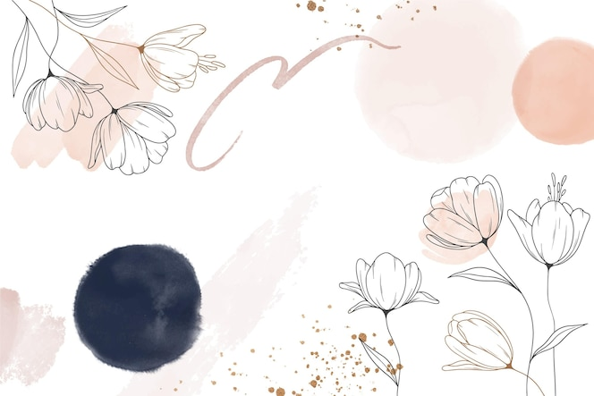 Watercolor hand drawn flowers background