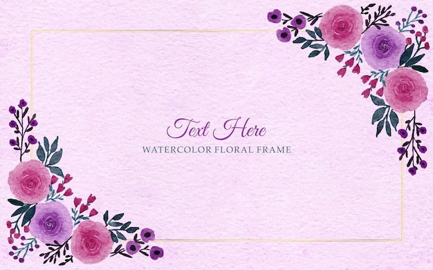 Watercolor hand drawn flowers frame border background