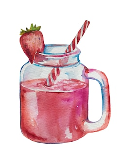 Watercolor hand drawn fruit smoothies.