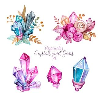水彩手描きの宝石と花のセット