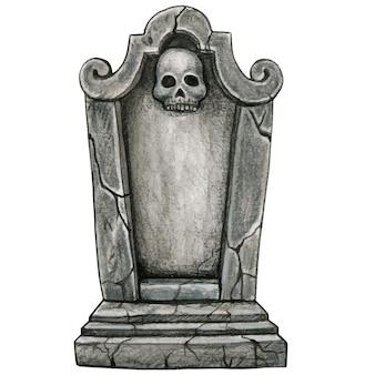 Watercolor hand drawn gothic halloween gravestone