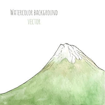 Watercolor hand drawn green mountain. isolated vector illustration.