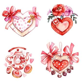 水彩手描きの挨拶バレンタインカード。招待状、バナー。