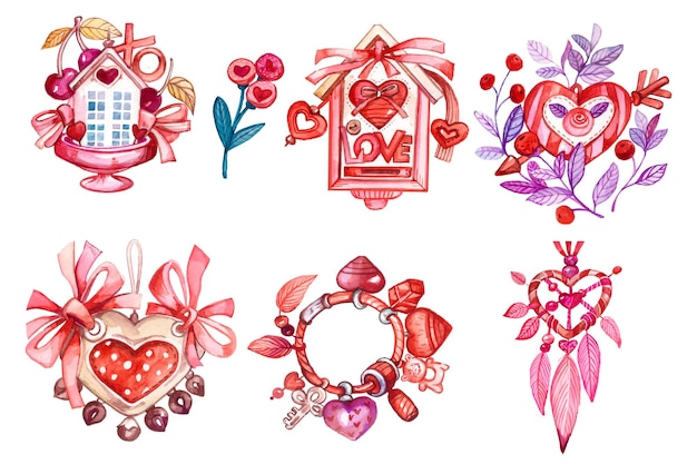 水彩手描きの挨拶バレンタイン要素