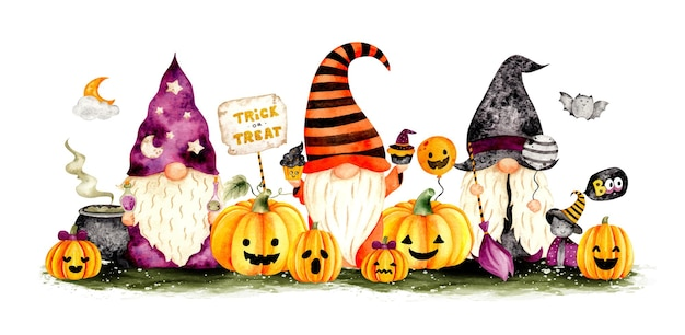Watercolor hand drawn halloween gnome banner