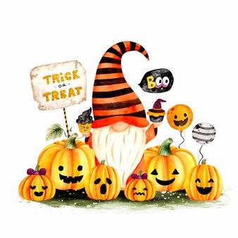Акварель рисованной хэллоуин гном