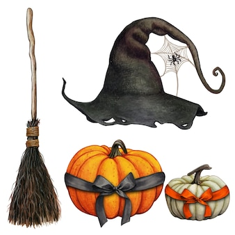 Watercolor hand drawn halloween witch themed icons