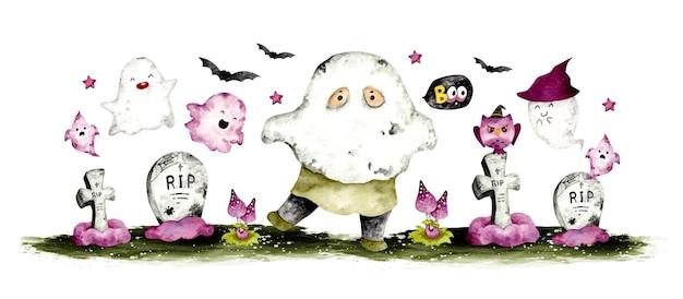 水彩手描き幸せなalloweenキャラクターバナー