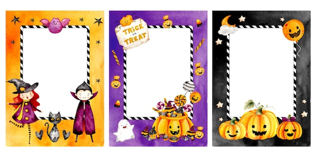 Watercolor hand drawn happy halloween frame