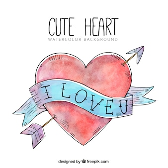 Watercolor hand drawn heart background