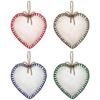 Watercolor hand drawn heart shaped christmas stuffed decoration