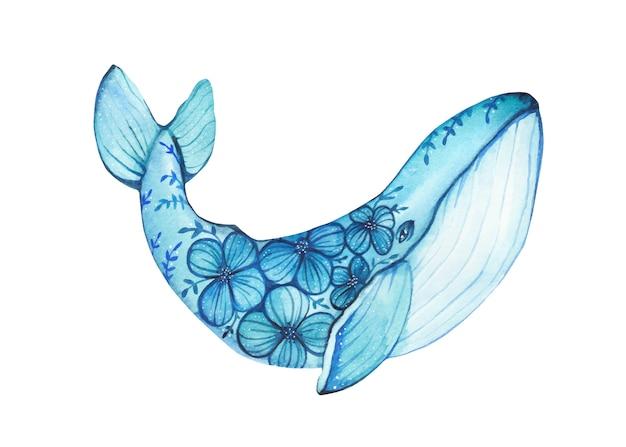 Акварель рисованной иллюстрации горбатого кита с нарисованными цветами.