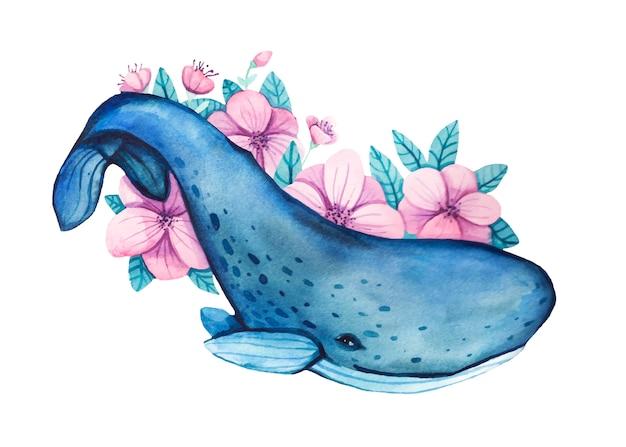 塗装の花と水彩の手描きのザトウクジラのイラスト。