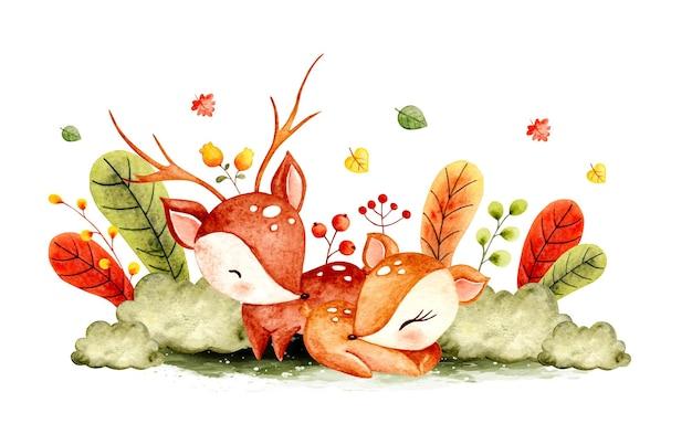Акварель рисованной иллюстрации пара оленей в джунглях