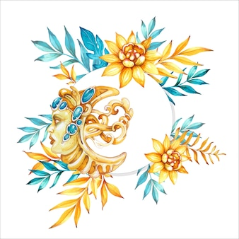 장식 달과 꽃으로 수채화 손으로 그린 그림