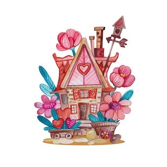 Акварельная рисованная иллюстрация с крошечным домиком