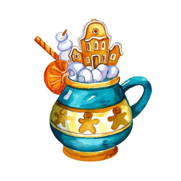 Акварель рисованной иллюстрации горячего напитка