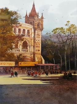 建物のイラストの中の水彩手描き工業化された場所