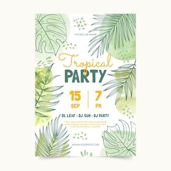 Watercolor hand drawn invitation template